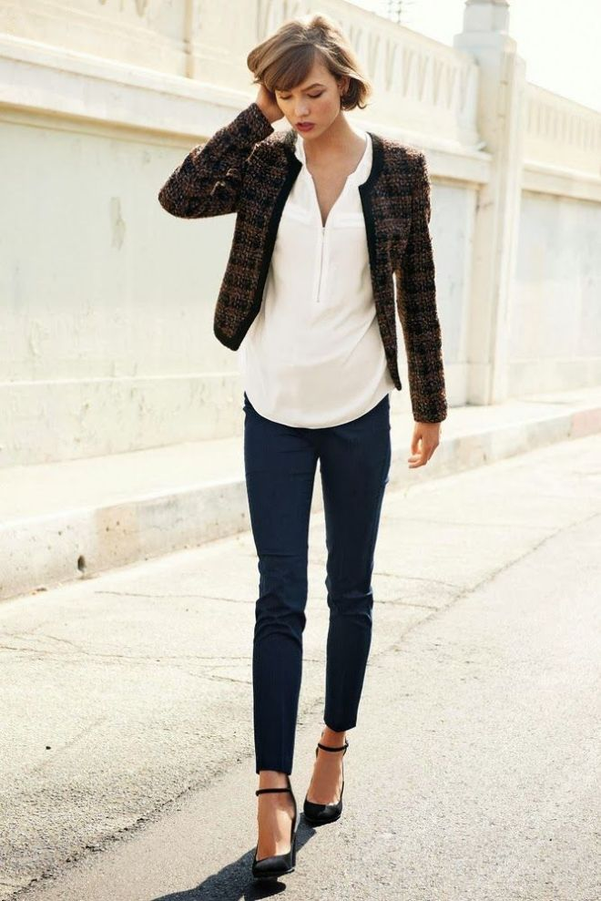 karlie kloss in a cropped jacket