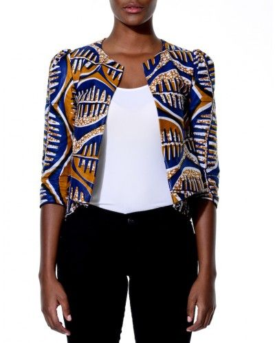 patterned cropped jacket